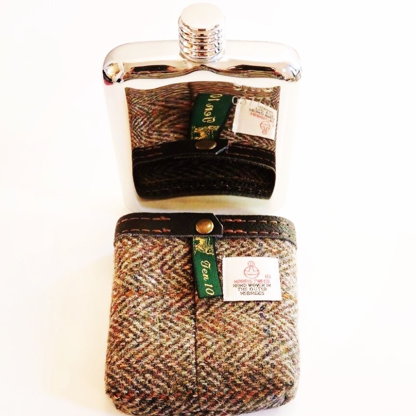 Harris Tweed Closeup Hip Flask