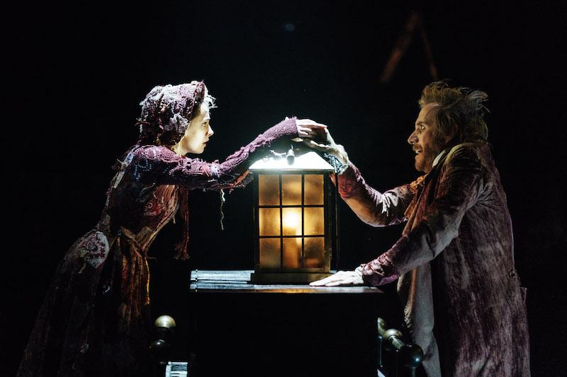 Melissa Allan (Little Fan) and Rhys Ifans (Ebenezer Scrooge) in A Christmas Carol at The Old Vic. Photos by Manuel Harlan